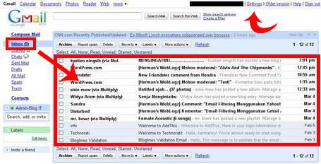 Tampilan Inbox Gmail Tanpa Label Filter